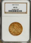 Liberty Eagles: , 1857-S $10 AU53 NGC. A crisply struck and briefly circulatedexample of this unheralded No Motto rarity. Only 26,000 pieces...