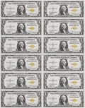 Small Size:World War II Emergency Notes, Fr. 2306 $1 1935A North Africa Silver Certificates. Uncut Sheet of12. Gem Crisp Uncirculated.. This is another great World ...