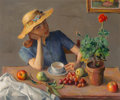 Fine Art - Painting, American, Robert Brackman (American, 1898-1980). Arrangement at theTable. Oil on canvas. 25-1/2 x 30 inches (64.8 x 76.2 cm).Sig...