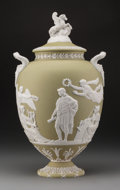 Decorative Arts, British:Other , A Large Wedgwood Sage Green Jasperware Covered Apotheosis ofVirgil (Pegasus) Vase, designed by John Flaxman, Bu...