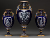 A Fine Three-Piece Royal Worcester Neoclassical Enameled Porcelain Tragedies of Aeschylus: The Suppliants <