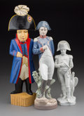 Decorative Arts, Continental, Three Porcelain and Carved Wood Standing Figures of Napoleon, 20thcentury. Marks: (Lladro logotype), (various). 16-1/8 inch...(Total: 3 Items)