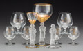 Decorative Arts, Continental, Nine Various Napoleonic Glass Items, 20th century. 7-1/4 incheshigh (18.4 cm) (tallest, wine goblet). PROPERTY FROM THE E...(Total: 9 Items)
