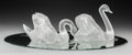 Art Glass:Lalique, Pair of Lalique Cygne Tete Droite and Cygne TetePenchee Glass Swans on Mirrored Plateau. Post-1945.... (Total:3 Items)
