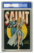 Golden Age (1938-1955):Adventure, Saint #4 Vancouver pedigree (Avon, 1948) CGC NM 9.4 Off-white pages. The curvy cutie dressed in pale blue, seen standing nex...