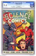Golden Age (1938-1955):Superhero, Science Comics #3 Larson pedigree (Fox, 1940) CGC NM 9.4 Off-white to white pages. This early Fox has a lot going for it - m...