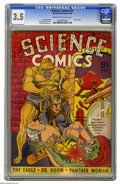Golden Age (1938-1955):Science Fiction, Science Comics #4 (Fox, 1940) CGC VG- 3.5 Cream to off-white pages.Classic cover by Joe Simon. Jack Kirby and Dick Briefer ...