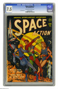 "Golden Age (1938-1955):Science Fiction, Space Action #1 (Ace, 1952) CGC VF- 7.5 Off-white to white pages.This Gerber ""uncommon"" issue features Lou Cameron art. It'..."