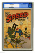 Golden Age (1938-1955):Superhero, Speed Comics #39 Mile High pedigree (Harvey, 1945) CGC NM 9.4 Off-white pages. Not only is this a rare high-grade specimen o...