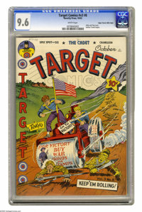 Target Comics V3#8 Mile High pedigree (Novelty Press, 1942) CGC NM+ 9.6 White pages. Hitler and Tojo get the steamroller...
