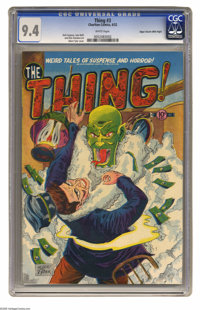 The Thing! #3 Mile High pedigree (Charlton, 1952) CGC NM 9.4 White pages. The truly horrific green-skinned creature who...