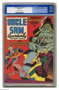 Uncle Sam Quarterly #4 Mile High pedigree (Quality, 1942) CGC NM+ 9.6 Off-white to white pages. As usual, the Mile High...