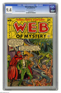 Golden Age (1938-1955):Horror, Web of Mystery #13 (Ace, 1952) CGC NM 9.4 Off-white to white pages.What the devil? Satan himself stars on this surrealistic...