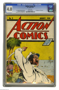 Action Comics #3 (DC, 1938) CGC VG 4.0 White pages. The third appearance of Superman comes in this issue that also boast...