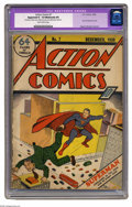 Golden Age (1938-1955):Superhero, Action Comics #7 (DC, 1938) CGC Apparent GD- 1.8 Moderate (P) Slightly brittle pages. This is only the second time Superman ...