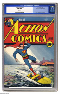 Action Comics #25 Mile High pedigree (DC, 1940) CGC NM+ 9.6 White pages. If you collect Golden Age, you'll never find a...
