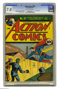 Action Comics #37 (DC, 1941) CGC FN/VF 7.0 Off-white to white pages. Fred Ray drew this issue's Superman cover and also...