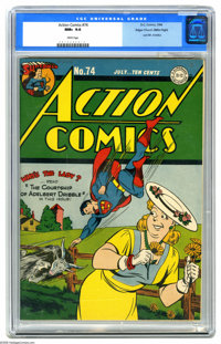 Action Comics #74 Mile High pedigree (DC, 1944) CGC NM+ 9.6 White pages. Once again, the Edgar Church copy of an issue l...