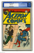 Golden Age (1938-1955):Superhero, Action Comics #98 Mile High pedigree (DC, 1946) CGC NM/MT 9.8 Off-white to white pages. This bright, bold, and beautiful cop...