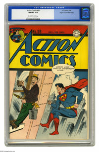 Action Comics #98 Mile High pedigree (DC, 1946) CGC NM/MT 9.8 Off-white to white pages. This bright, bold, and beautiful...