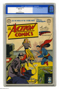 """Golden Age (1938-1955):Superhero, Action Comics #142 (DC, 1950) CGC NM 9.4 White pages. Given this book's white cover, a 9.4 is a """"super"""" grade indeed, and th..."""