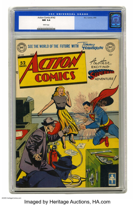 """Action Comics #142 (DC, 1950) CGC NM 9.4 White pages. Given this book's white cover, a 9.4 is a """"super"""" grade indeed, and th..."""