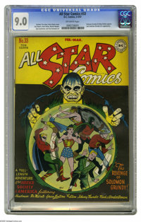 All Star Comics #33 (DC, 1947) CGC VF/NM 9.0 Off-white pages. Irwin Hasen's cover, dominated by super-villain Solomon Gr...