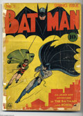 Golden Age (1938-1955):Superhero, Batman #1 (DC, 1940) Condition: FR. This is one of the most significant comics of all time thanks to the first appearances o...