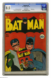 Batman #8 (DC, 1942) CGC VF+ 8.5 White pages. The superb copy of this early issue is ranked just behind the highest-grad...