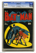 Golden Age (1938-1955):Superhero, Batman #9 (DC, 1942) CGC VF+ 8.5 Cream to off-white pages. The Dynamic Duo are quite literally in the spotlight on Jack Burn...