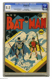 Batman #10 (DC, 1942) CGC VF+ 8.5 Off-white pages. Jack Burnley's clever cover for this issue features a miniature Batma...