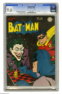 Batman #23 (DC, 1944) CGC NM+ 9.6 Off-white to white pages. A 9.6 copy of an issue with a black cover is quite a find in...