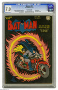 Golden Age (1938-1955):Superhero, Batman #25 (DC, 1944) CGC FN/VF 7.0 Off-white pages. A red-hot Dick Sprang cover kicks off this landmark issue, which presen...