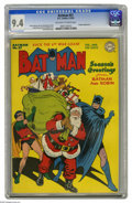 Golden Age (1938-1955):Superhero, Batman #27 (DC, 1945) CGC NM 9.4 Off-white to white pages. Jolly old Saint Nick gets a helping hand from the Dynamic Duo in ...