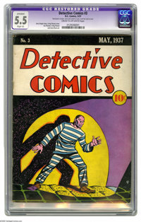 Detective Comics #3 (DC, 1937) CGC Apparent FN- 5.5 Slight (A) Cream to off-white pages. This very early pre-Batman issu...