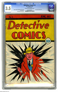 """Detective Comics #4 (DC, 1937) CGC VG- 3.5 Cream to off-white pages. """"Cheesit, th' cops!"""" The law comes crashi..."""