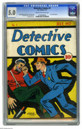 Platinum Age (1897-1937):Miscellaneous, Detective Comics #5 (DC, 1937) CGC VG/FN 5.0 Cream to off-whitepages. Early Detective Comics star Speed Saunders leaps ...