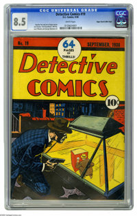 Detective Comics #19 Mile High pedigree (DC, 1938) CGC VF+ 8.5 White pages. Here's another superb pre-Batman copy of thi...
