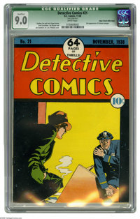 Detective Comics #21 Mile High pedigree (DC, 1938) CGC VF/NM Qualified 9.0 White pages. This beautiful pre-Batman issue...