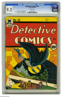 Detective Comics #54 (DC, 1941) CGC NM- 9.2 White pages. With Robin trussed up in the back of a convertible with two gun...