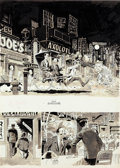 """Original Comic Art:Complete Story, Wally Wood MAD Magazine #34 Complete 4-Page Story """"Two Chinese Fellas who go to an American Restaurant"""" Original A... (Total: 4 Original Art)"""