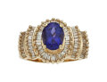 Estate Jewelry:Rings, Tanzanite, Diamond, Gold Ring The ring centers...