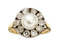Estate Jewelry:Rings, Antique Natural Pearl, Diamond, Silver-Topped Gold Ring. ...