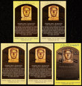 Baseball Collectibles:Others, Joe DiMaggio Signed Hall of Fame Plaque Postcard Collection (5). . ...