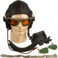 Legendary Aviation Pioneer and Boeing Test Pilot Clayton Scott: His Personal Leather Flight Helmet, Goggles, Leather Fli...