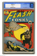 Golden Age (1938-1955):Superhero, Flash Comics #11 (DC, 1940) CGC VF/NM 9.0 Off-white pages. DC's long-running practice of placing gorillas on the cover gets ...