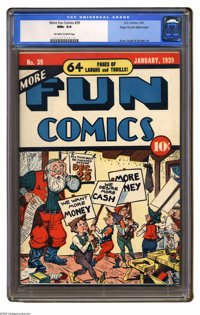 More Fun Comics #39 Mile High pedigree (DC, 1939) CGC NM+ 9.6 Off-white to white pages. A comical Christmas cover leads...