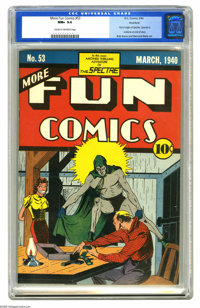 More Fun Comics #53 Rockford pedigree (DC, 1940) CGC NM+ 9.6 Cream to off-white pages. Nearly five years after DC's firs...