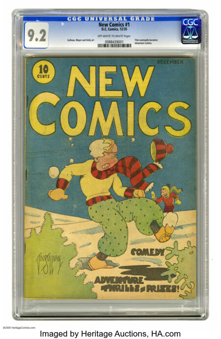 New Comics #1 (DC, 1935) CGC NM- 9.2 Off-white to white pages. This is the first issue of DC Comics' second series, and the ...