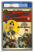 Golden Age (1938-1955):Superhero, Sensation Comics #1 (DC, 1942) CGC NM 9.4 Off-white pages. This isn't just the nicest copy yet certified of this key comic, ...